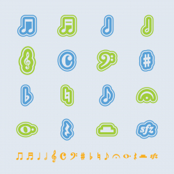 Music Note Icons - Color Series   EPS10