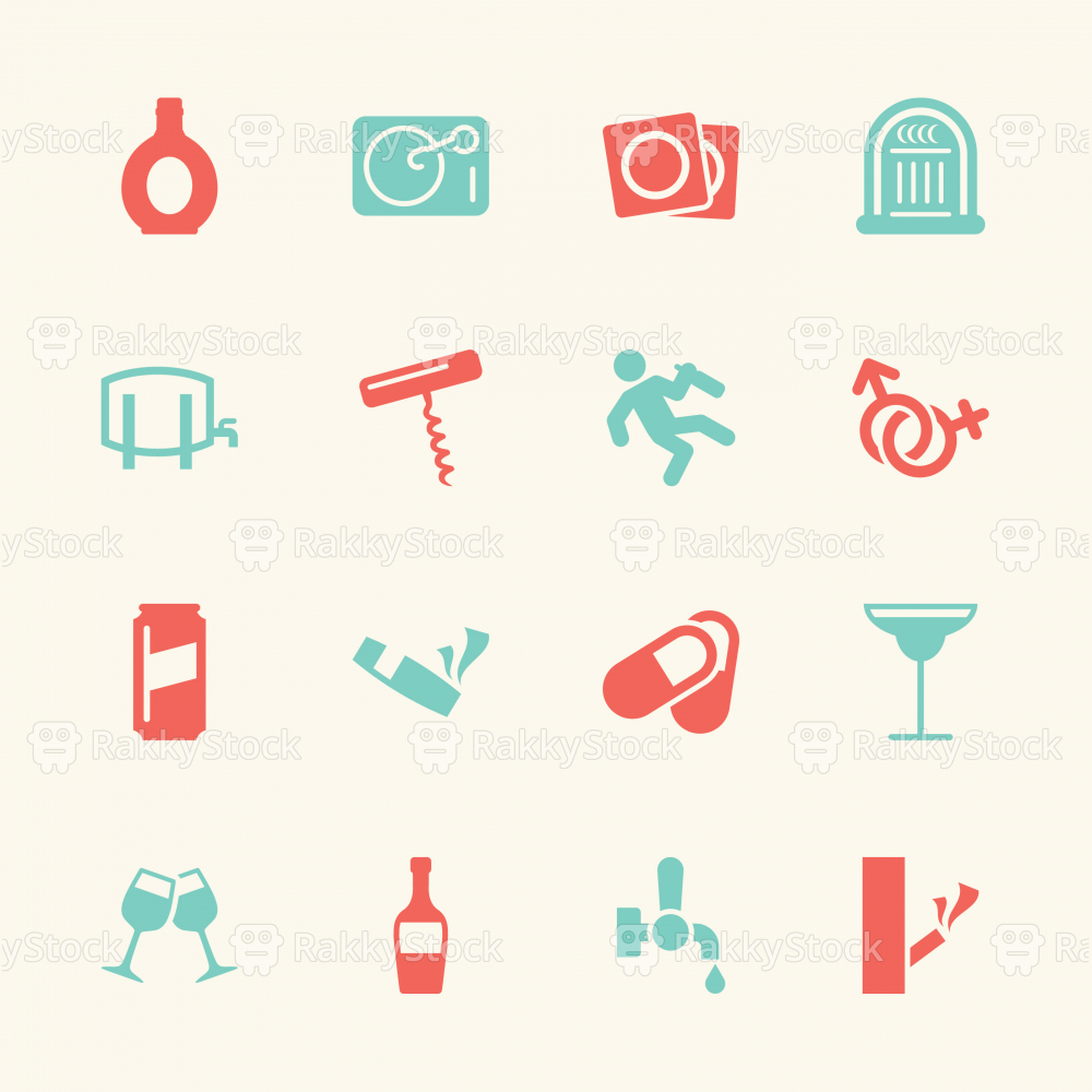 Drunk Party Icons Set 2 - Color Series | EPS10