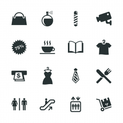 Shopping Mall Silhouette Icons