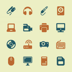 Computer Hardware Icons Set 1 - Color Series | EPS10