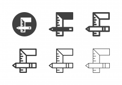 Square Ruler and Pencil Icons - Multi Series