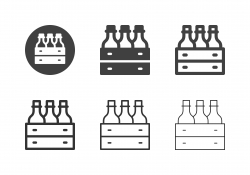 Water Bottle in Wooden Crate Icons - MultI Series