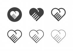 Heart Hand Shake Icons - Multi Series