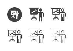 Businessman Present Rising Graph Icons - Multi Series