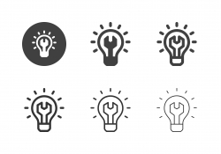 Wrench Light Bulb Icons - Multi Series