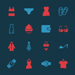 Clothing and Accessories Icons - Color Series | EPS10