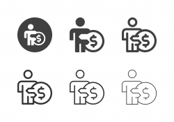 Businessman with Coin Icons - Multi Series