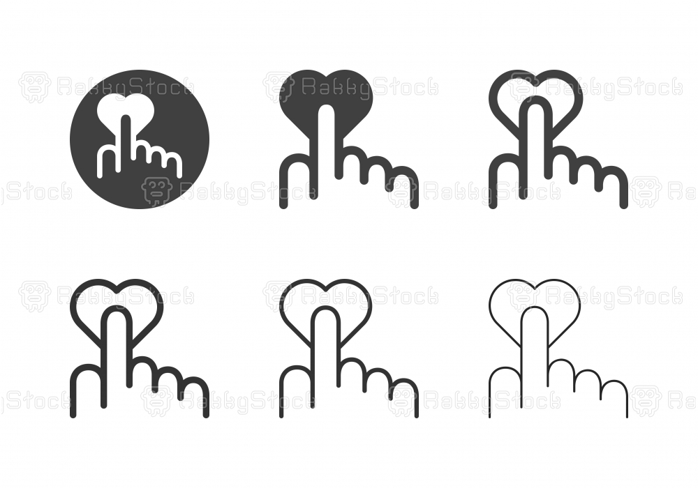 Hand Touch Heart Icons - Multi Series