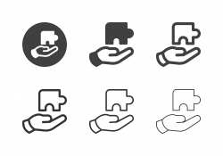 Hand Holding Puzzle Icons - Multi Series