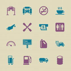Gas Station Icons - Color Series | EPS10