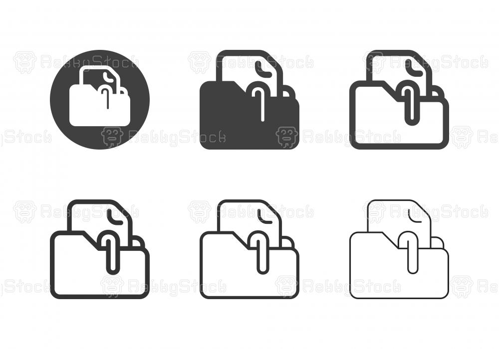 Document Folder Clip Icons - Multi Series