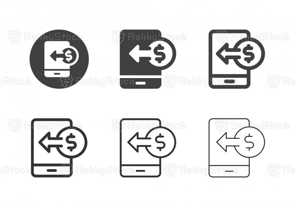 Mobile Currency Receiving Icons - Multi Series