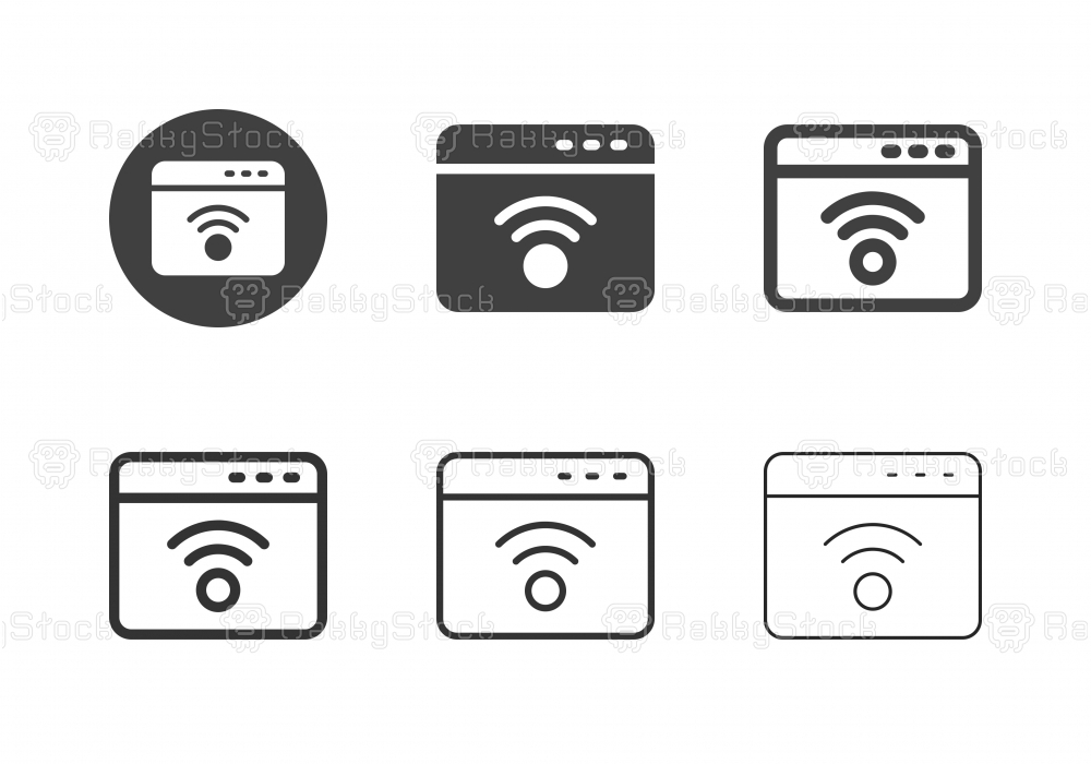 Web Page Wireless Connection Icons - Multi Series