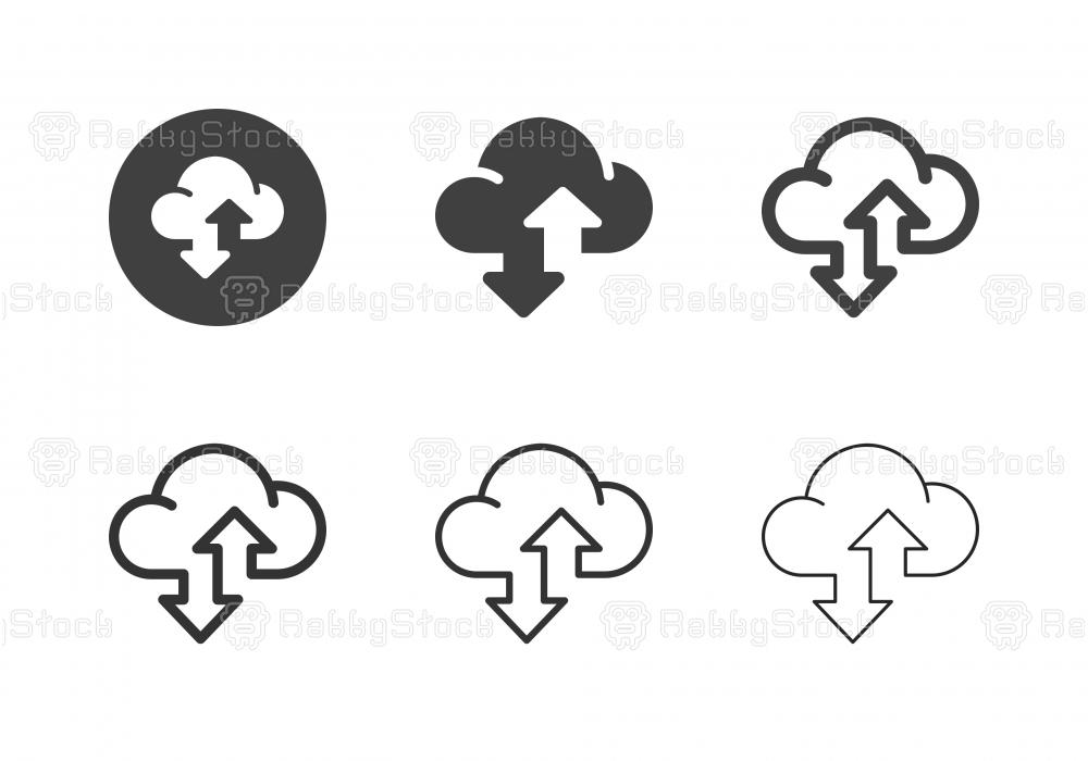 Cloud Data Transfer Icons - Multi Series
