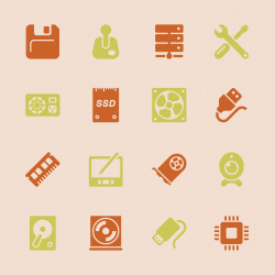Computer Hardware Icons Set 2 - Color Series   EPS10