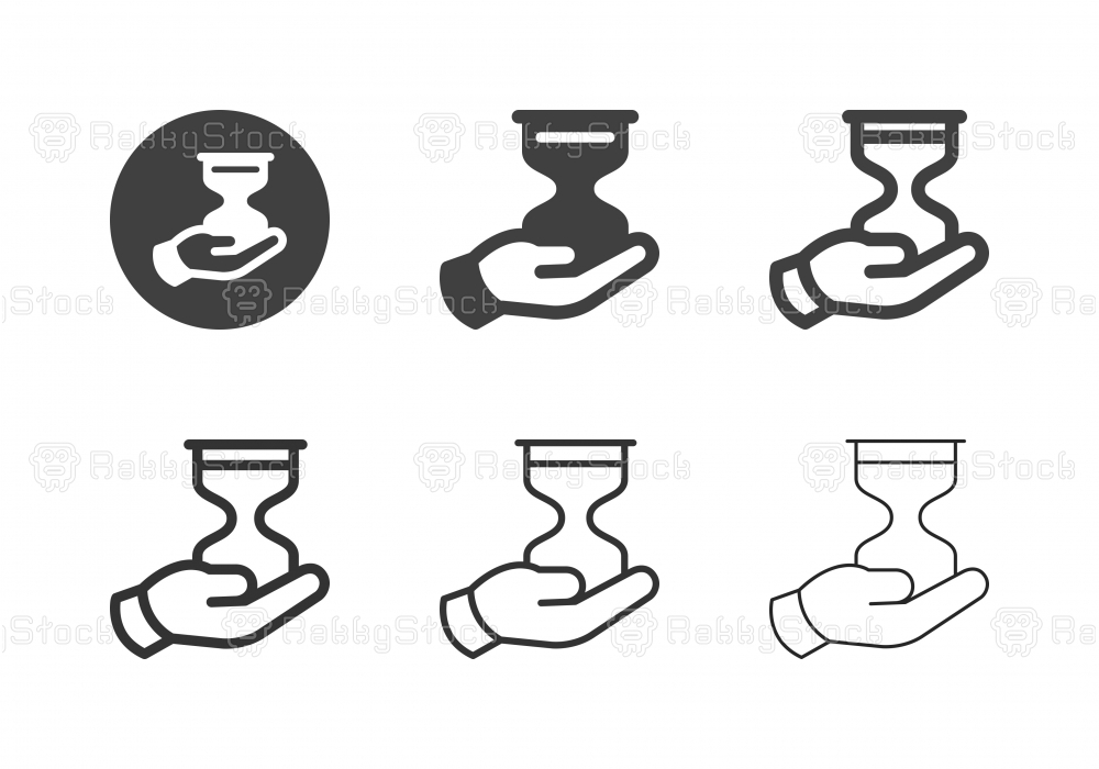 Hand Holding Hourglass Icons - Multi Series