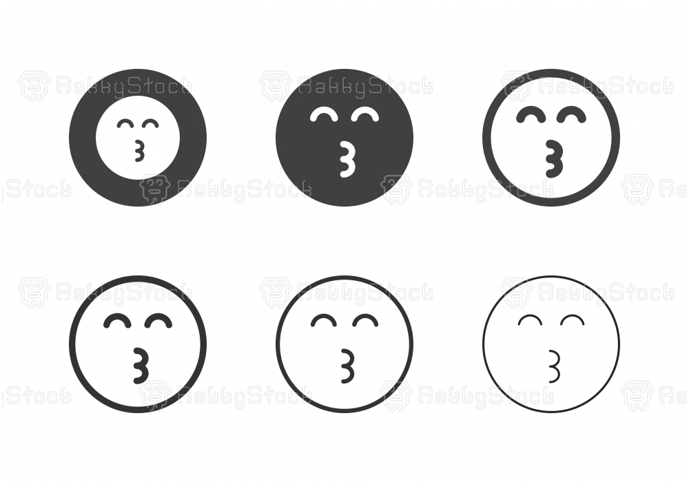 Whistling Emoticon Icons - Multi Series