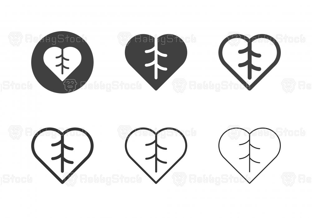 Leaf Heart Icons - Multi Series