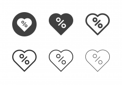 Discount Percent Tag in Heart Icons - MultI Series