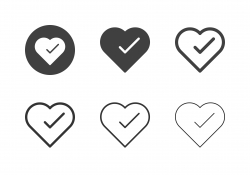 Check Mark in Heart Shape Icons - Multi Series
