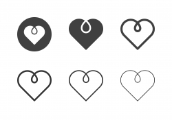 Heart Shape Line Icons - Multi Series