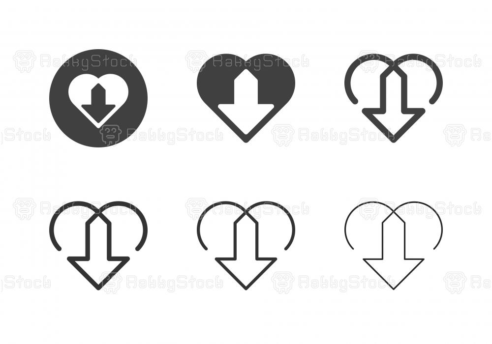 Heart Shape Arrow Line Icons - Multi Series