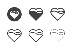 Wave in Heart Shape Icons - Multi Series