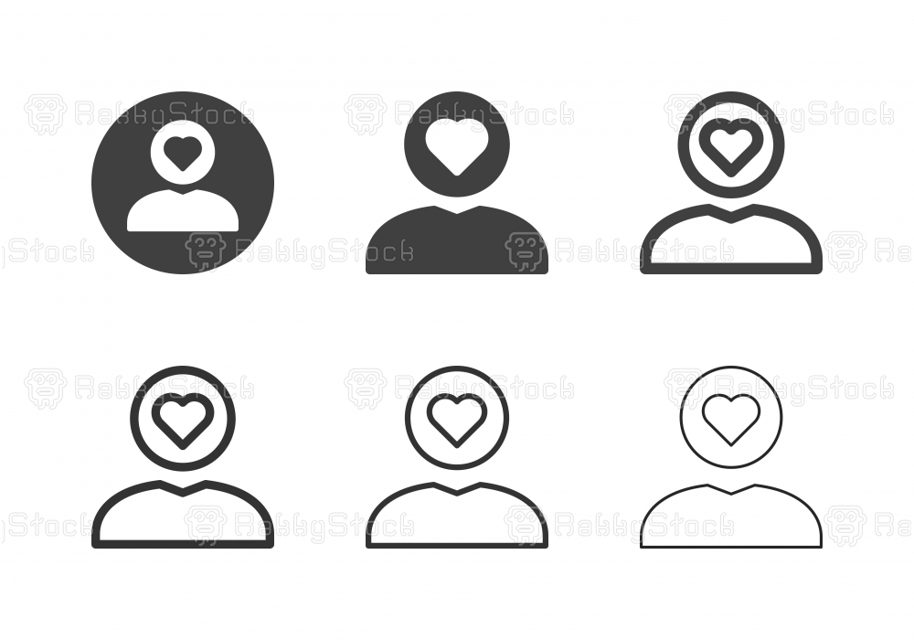 Human Head Heart Icons - Multi Series