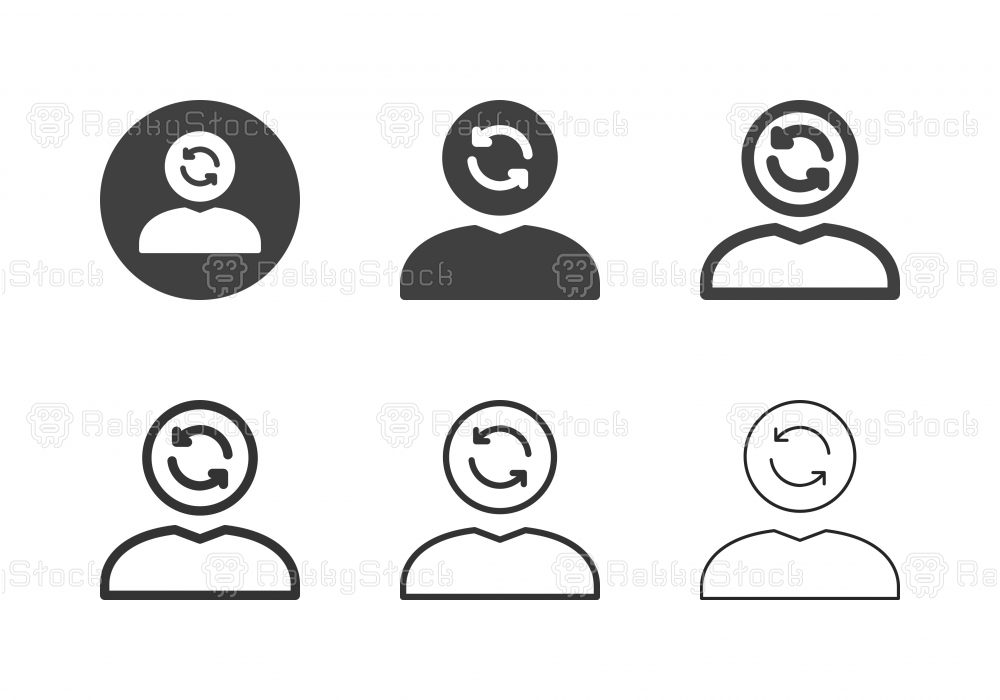 Human Head Arrow Circle Icons - Multi Series