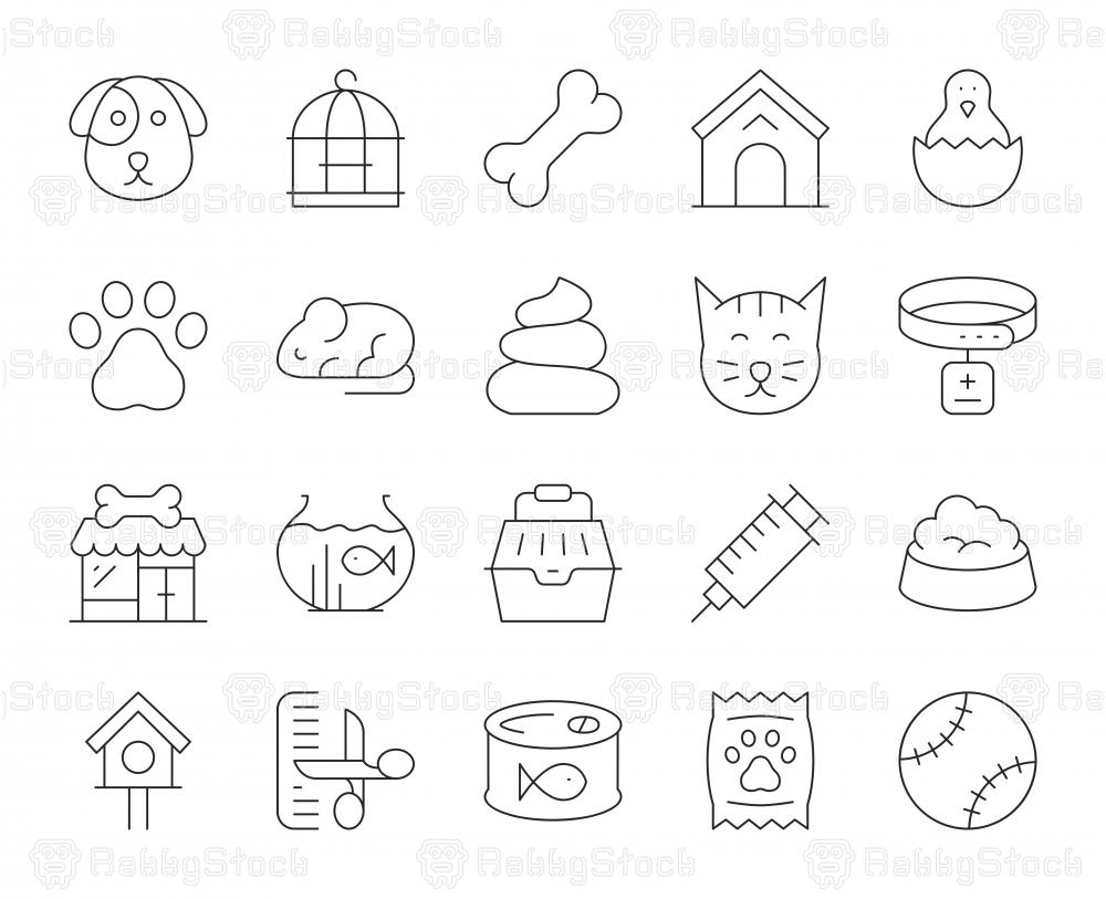 Domestic Animals - Thin Line Icons