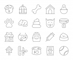 Domestic Animals - Thin Line Icons
