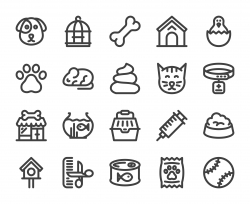 Domestic Animals - Bold Line Icons