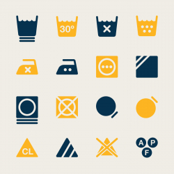 Laundry Sign Icons Set 3 - Color Series | EPS10