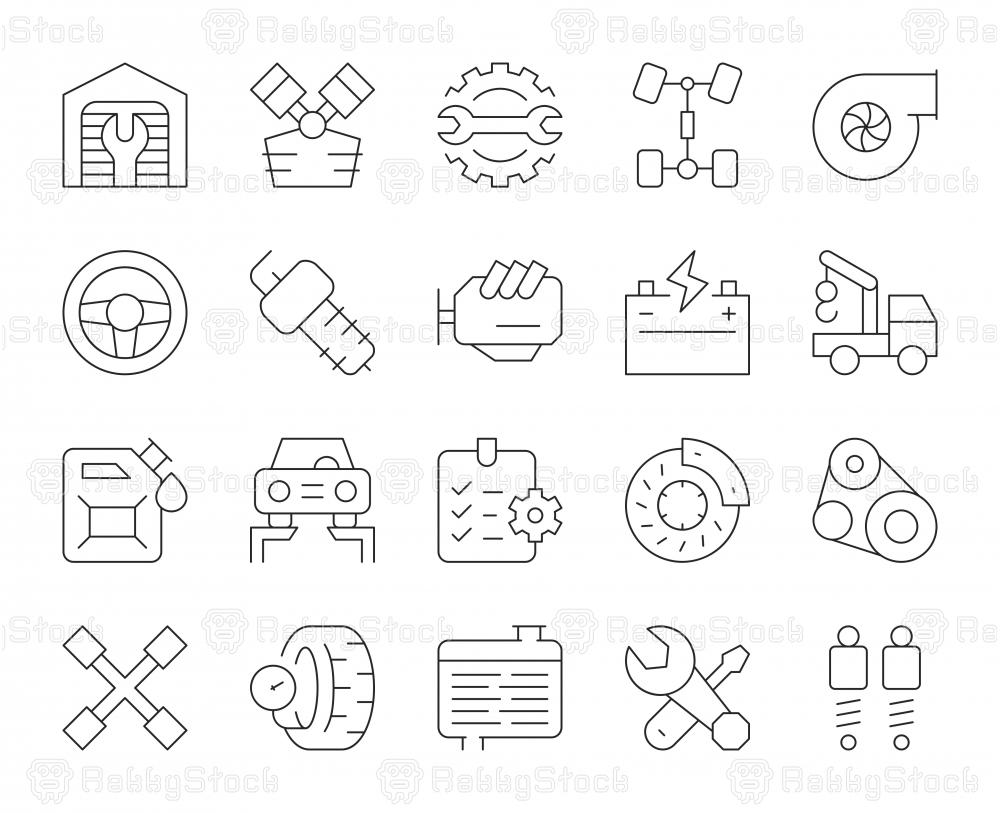 Auto Repair Shop - Thin Line Icons