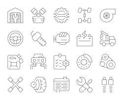 Auto Repair Shop - Thin Line Icons