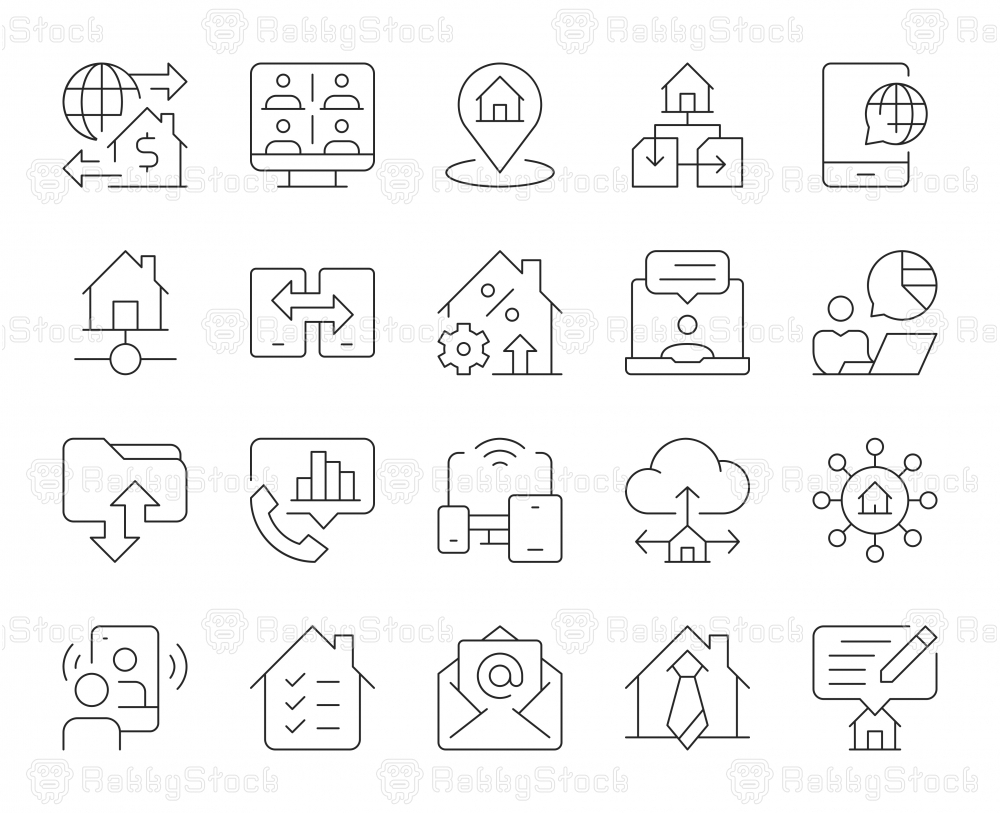 Work from Home - Thin Line Icons