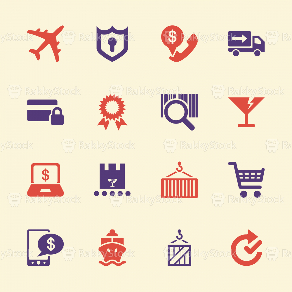 Online Shopping and Shipping Icons - Color Series | EPS10