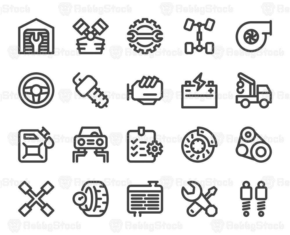 Auto Repair Shop - Bold Line Icons