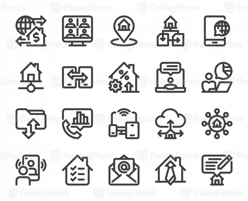 Work from Home - Bold Line Icons
