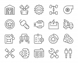 Auto Repair Shop - Light Line Icons