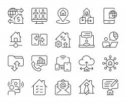 Work from Home - Light Line Icons