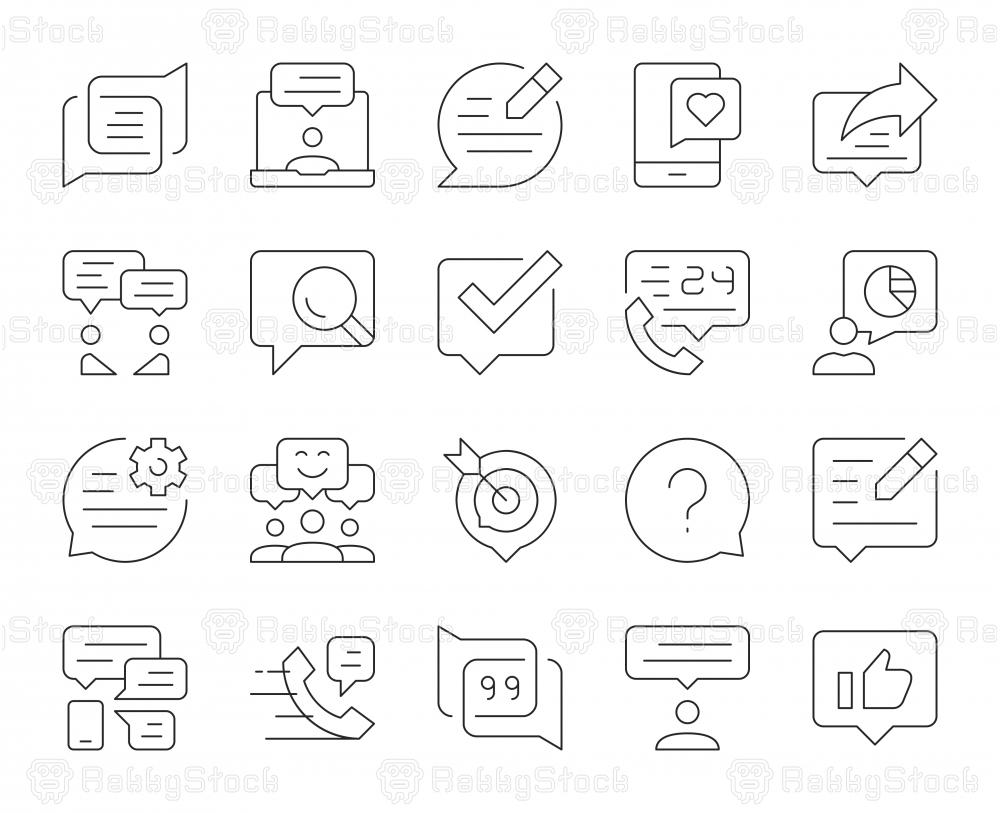 Speech Bubble Communication - Thin Line Icons