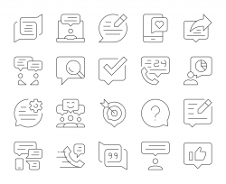 Speech Bubble Communication - Thin Line Icons
