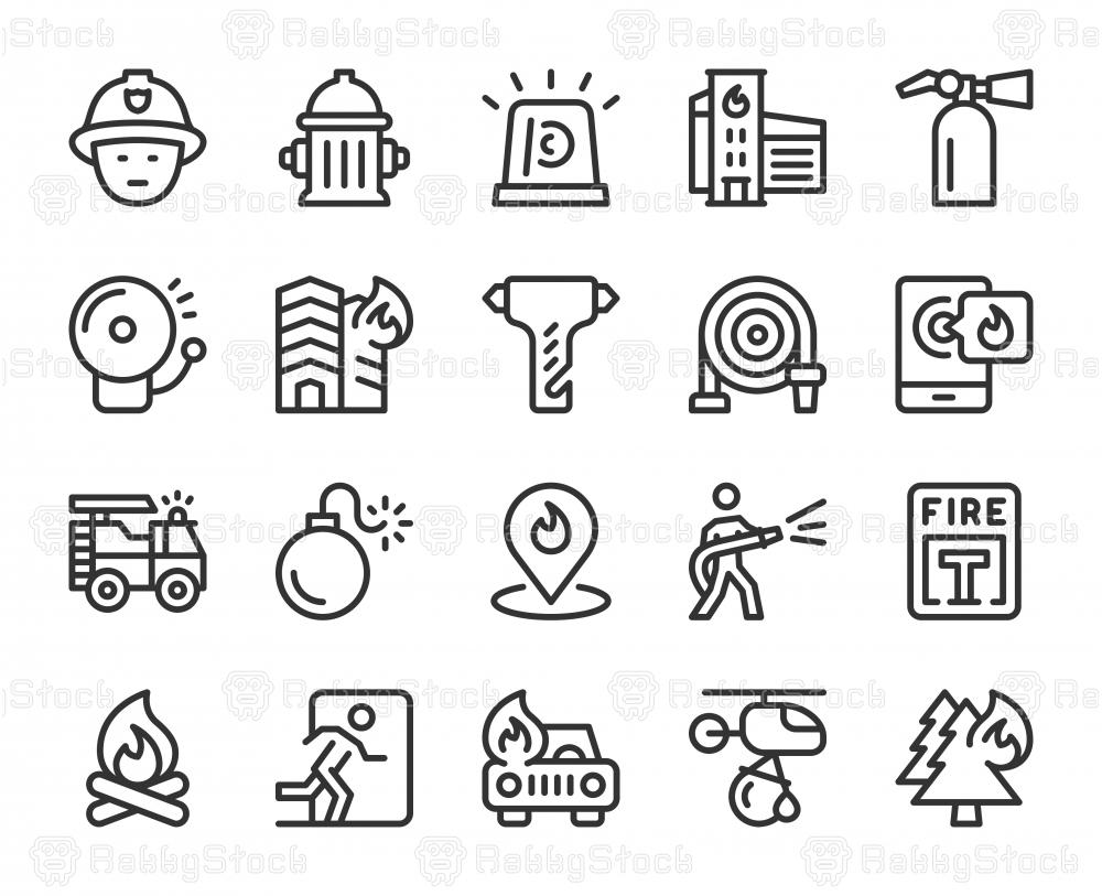 Fire Brigade - Line Icons