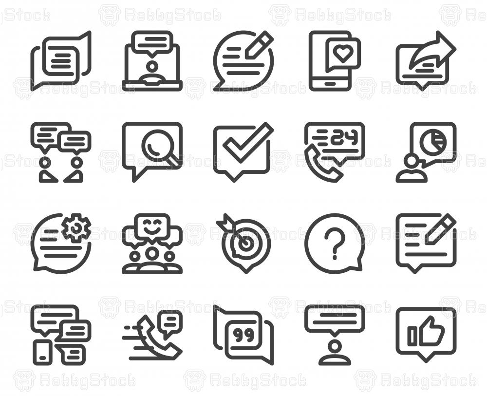 Speech Bubble Communication - Bold Line Icons