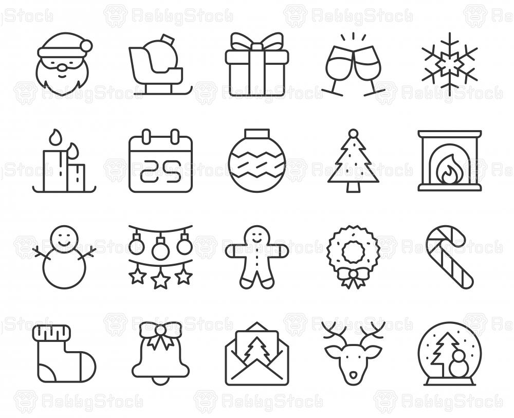 Christmas - Light Line Icons