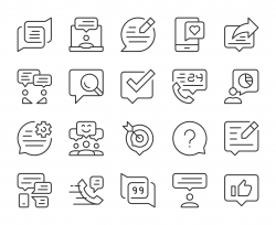 Speech Bubble Communication - Light Line Icons