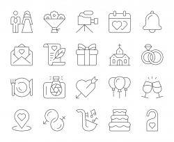 Wedding - Thin Line Icons