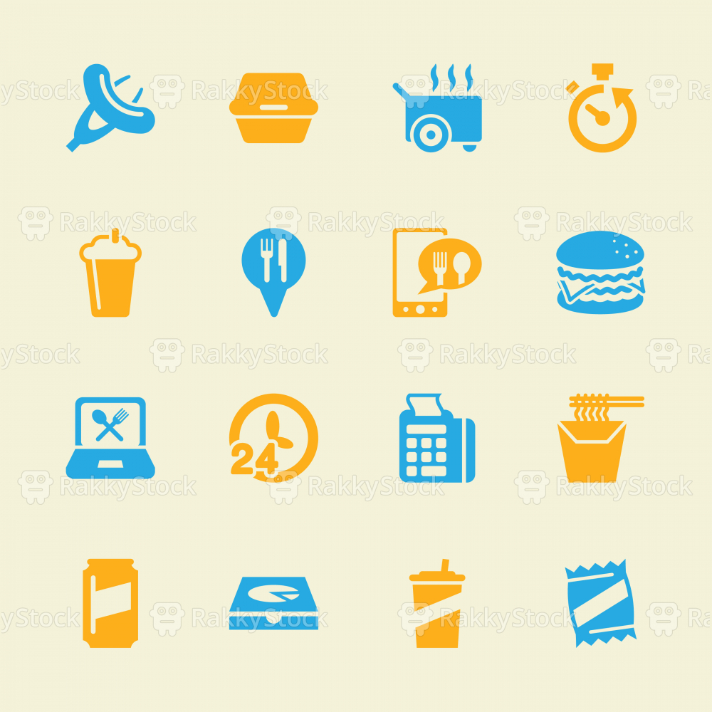Take Out Food Icons - Color Series | EPS10