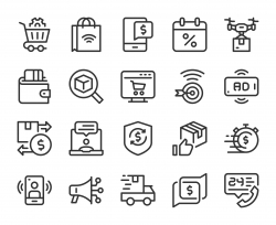 Shopping Online - Line Icons